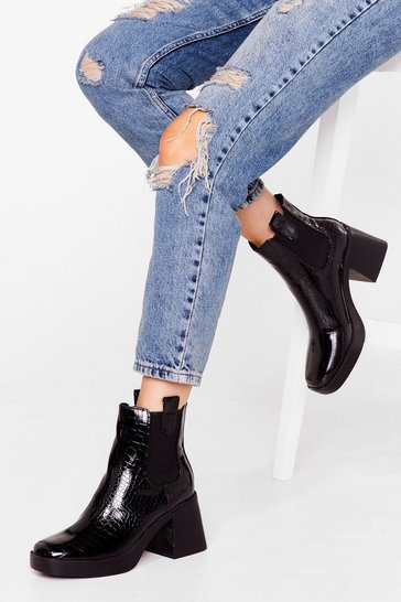 Black Faux Leather Croc Square Toe Heeled Boots