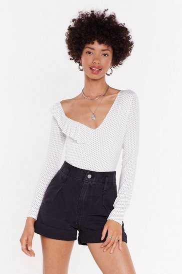 White Spot Your Girl Ruffle Bodysuit