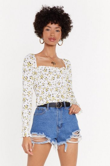 Womens Yellow You Grow Me Ruffle Crop Top