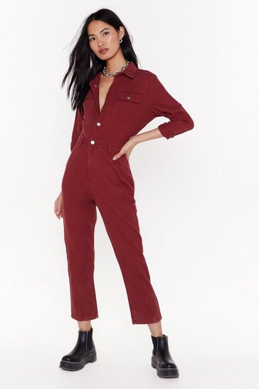 Womens Wine You Better Work Denim Button-Down Boilersuit