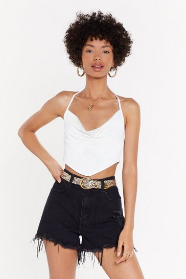 Womens Ivory Slinky Hankerchief Hem Crop Top