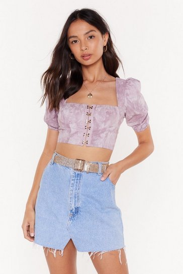 Lilac Hooked in Tie Dye Crop Top