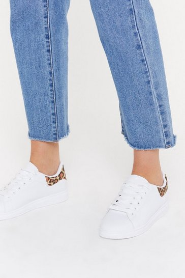 Womens White Leopard Tab Basic Court Sneaker