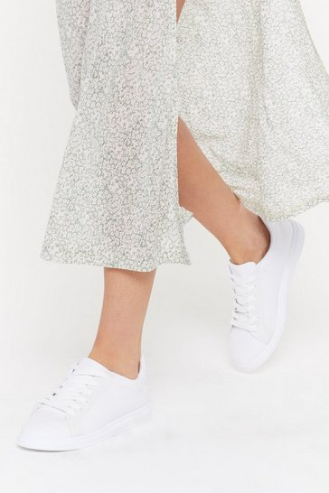 Womens White Clear Basic Court Sneaker