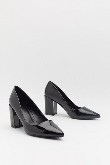 Womens Black Patent Block Heel Courts