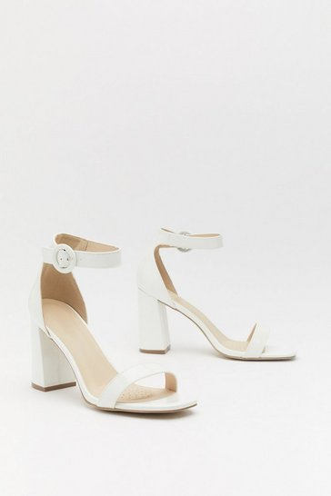 Womens White Patent Block Heel 2 Part Heels