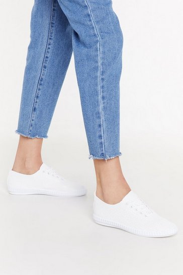 Womens White Perforated Slim Lace Up Plimsoll