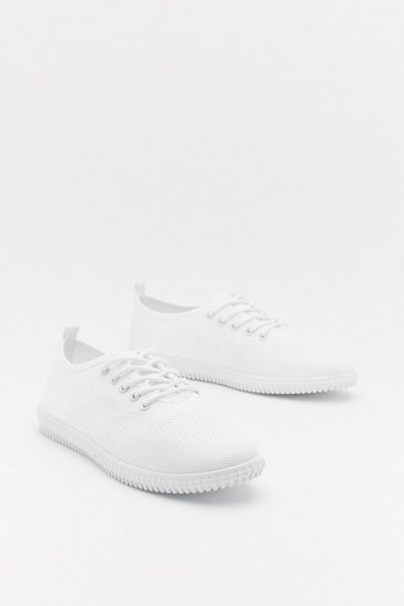 Womens White Sports Knit Lace Up Slim Plimsoll
