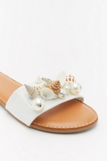 Womens White Shell Embellished Flat Mules