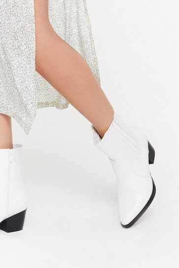 White High Ankle Western Boot