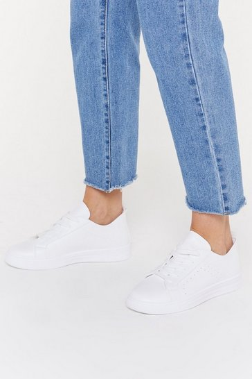 Womens White PU Lace Up Raw Edge Court Trainers