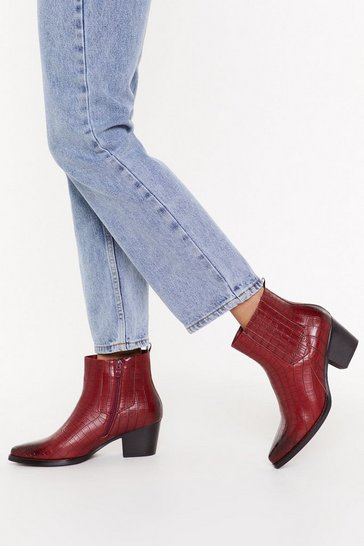 Faux Croc Western Boots, Red, FEMMES