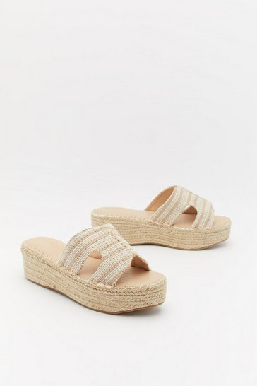 Womens Natural Woven Raffia Flatform Slider