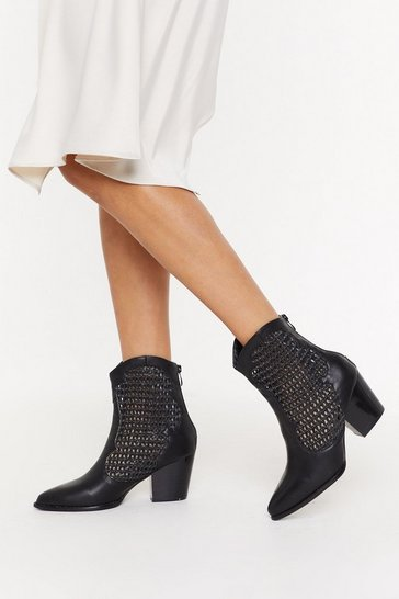 Womens Black Woven Side Heeled Western Boot