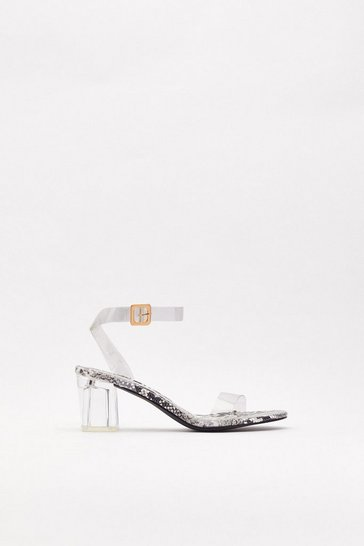 Womens Grey Let's Snake This Clear Block Heel Sandals