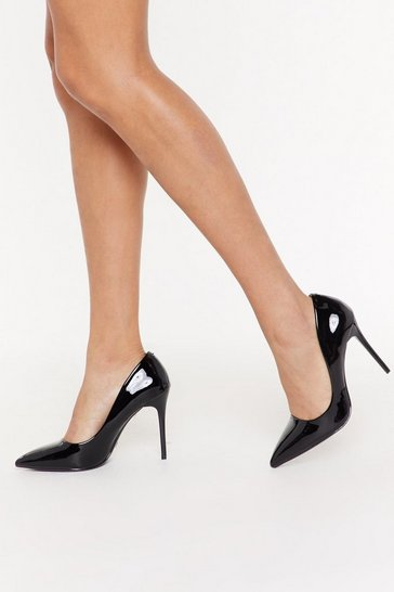 Womens Black Patent the Picture Stiletto Court Heels