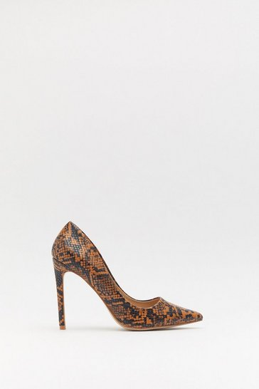 Womens Camel Faux Snake Pointed Stiletto Court