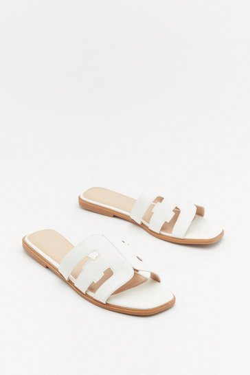 Cut Work Square Toe Flat Mules, White, FEMMES