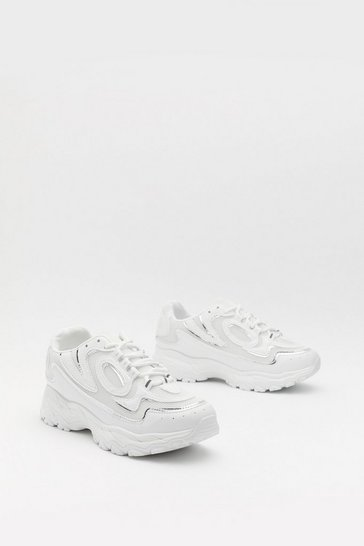 Womens White Mixed Sole Bubble Trainers