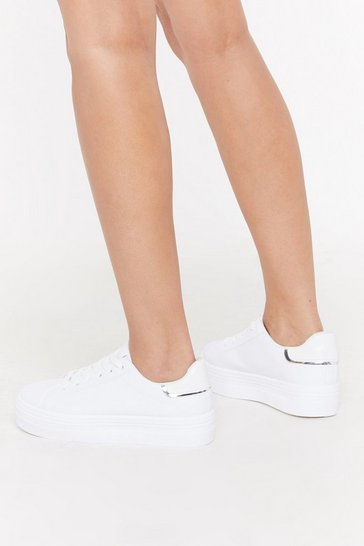 Womens White PU Flatform Contrast Tab Lace Up Trainers