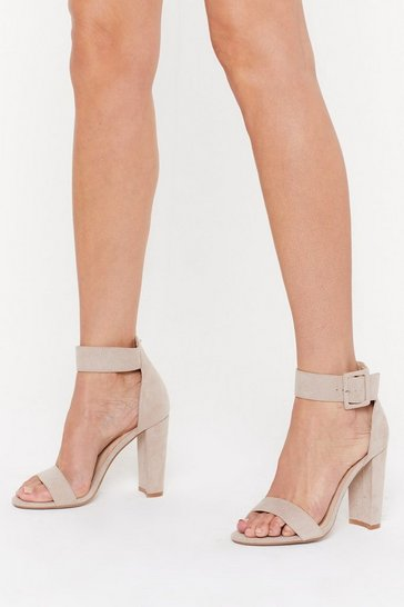 Womens Nude High There Faux Suede Buckle Heels