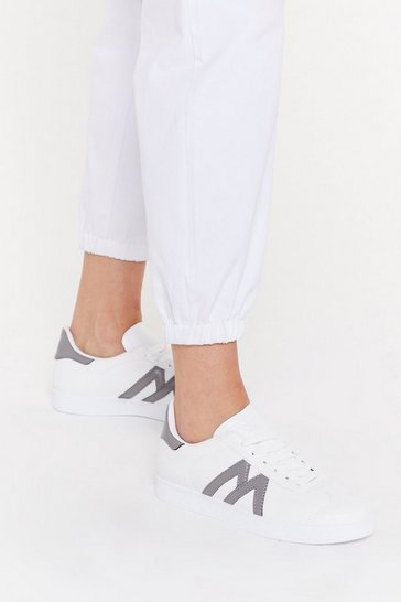 Womens White Crep Sole Lace Up Trainers