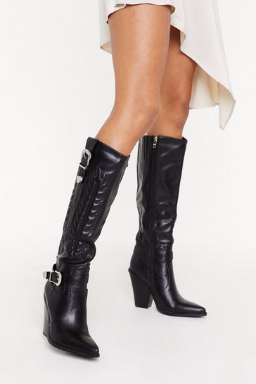Womens Black Ride With Me Knee-High Cowboy Boots