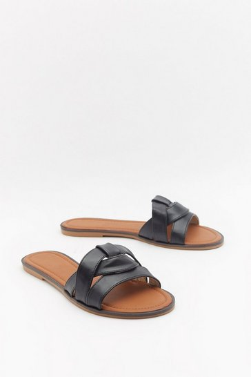 Womens Black Slide and Go Seek Knot Sliders