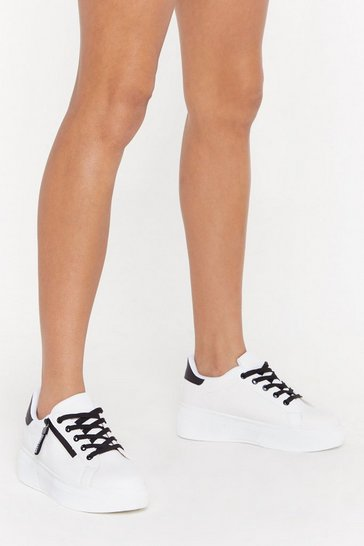 Womens White Zip to the Good Part Platform Trainers
