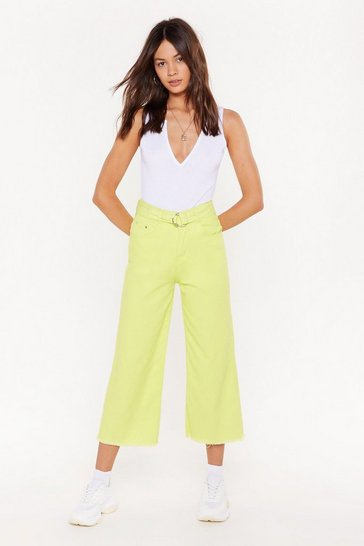 Womens Lime Pass Me the Riding Crop Wide-Leg Jeans