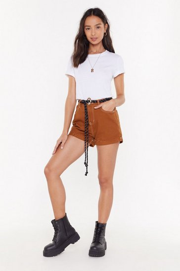 Womens Camel We've Got a Stitch-uation Denim High-Waisted Shorts