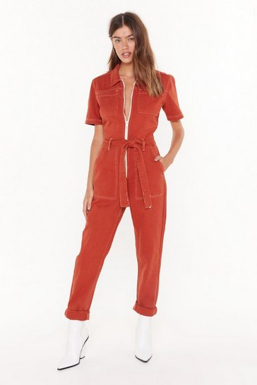 Contrast Stitch Short Sleeve Boilersuit, Rust, FEMMES
