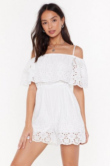 Womens White Not Sew Fast Broderie Anglaise Romper