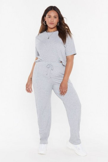 Womens Grey marl MS T-shirt & Jogger Set