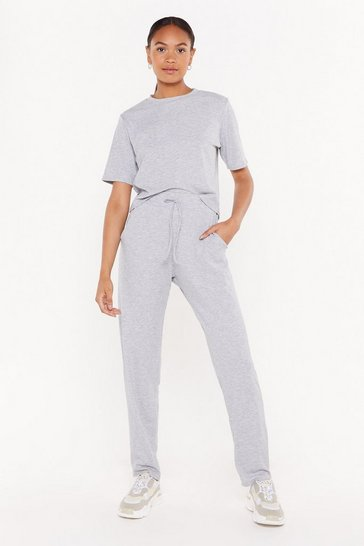Womens Grey marl Hiding from My Responsibilities Tee and Jogger Set