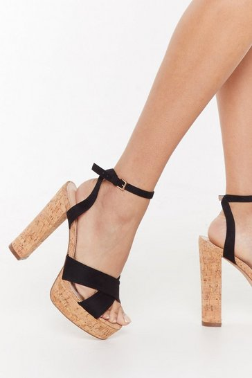 Womens Black A Cork to Remember Block Heel Sandals