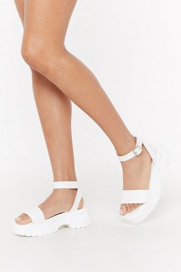 Womens White PU Sports Flatform Sandal