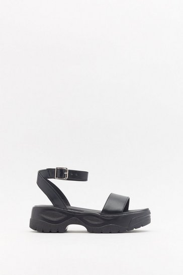 Womens Black PU Sport Flatform Sandals