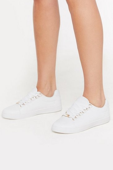 Womens White Lace First D-ring Eyelet Trainers