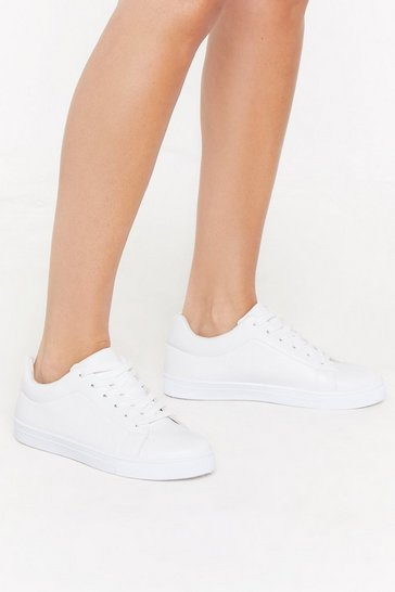 Womens White PU Plain Lace Up Court Trainers