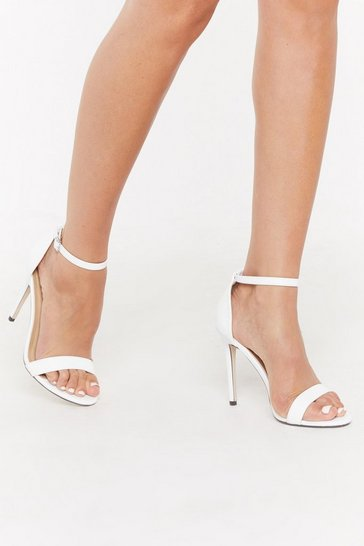 Womens White PU Stilletto 2 Part Heels