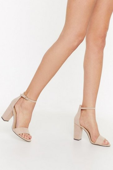 Womens Nude We Will Block You Faux Suede Heels