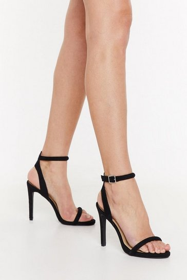 Womens Black Step Aside Faux Suede Stiletto Heels