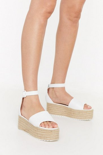 White Tumbled PU Raffia Flatform Sandals