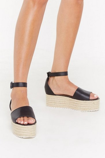 Womens Black Tumbled PU Raffia Flatform Sandals