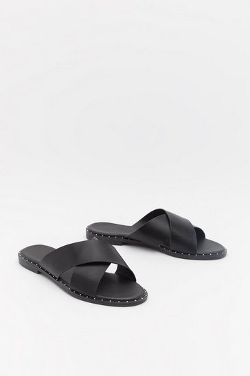 Womens Black Cross Strap Stud Rand Flat Mules