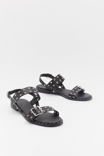 Womens Black Eyelet Buckle Flat Sandals