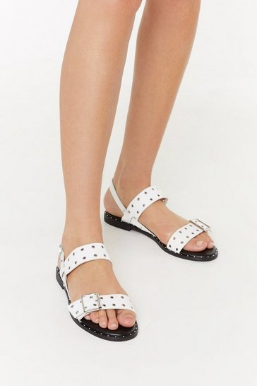 Womens White Eyelet Buckle Flat Sandals