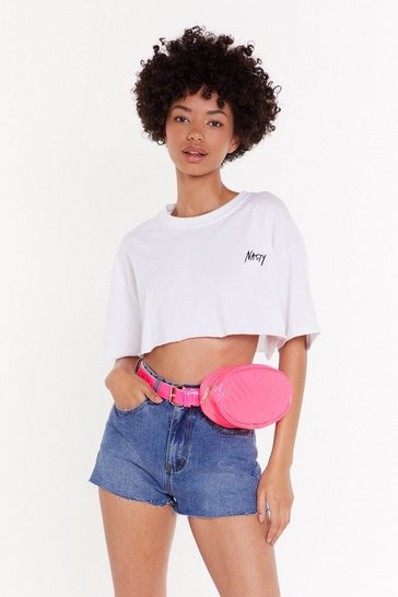 Pink WANT Move in My Direction Chevron Belt Bag