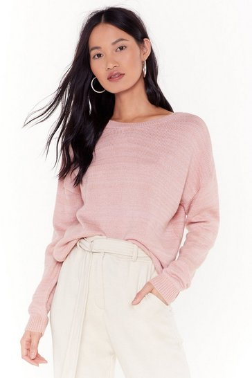Womens Blush Give Knit Your Best Shot Relaxed Sweater